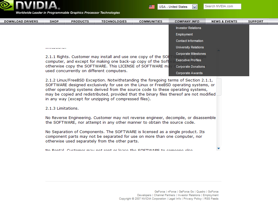 NVidia Terms of Service
